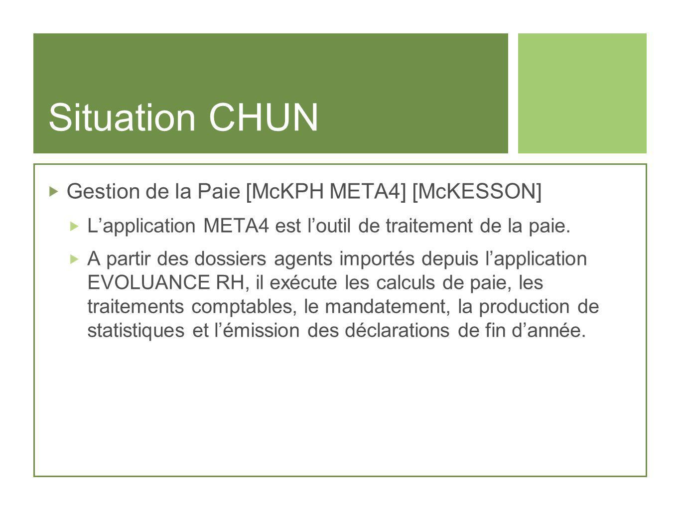 Situation CHUN Gestion de la Paie [McKPH META4] [McKESSON]